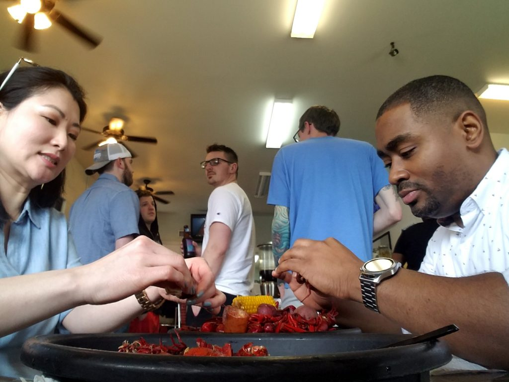 Wendy Marie digs in to a plate of crawfish
