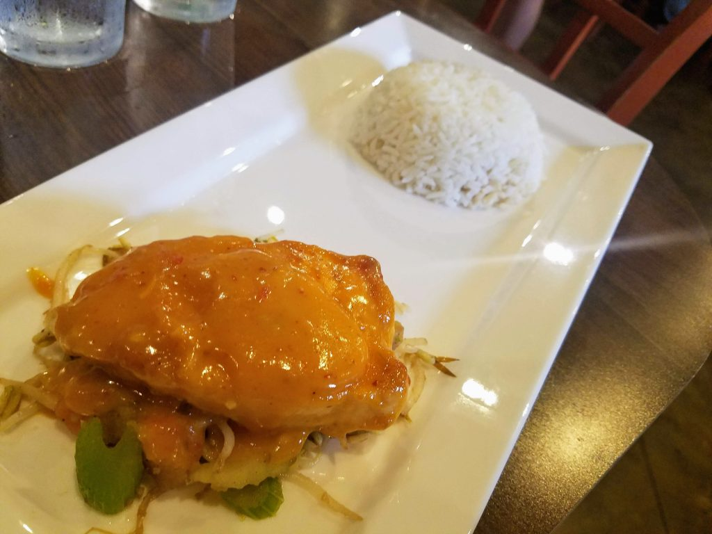 Salmon panang curry from Mosa Asian Bistro in Memphis