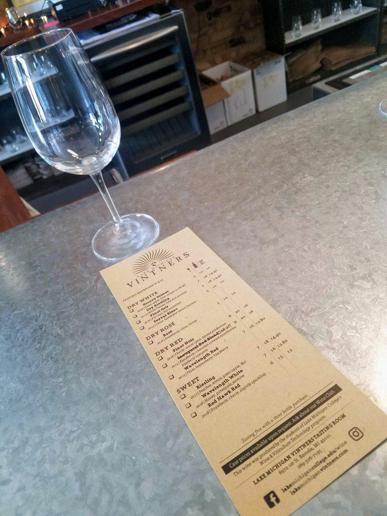 Wine menu at Lake Michigan Vitners