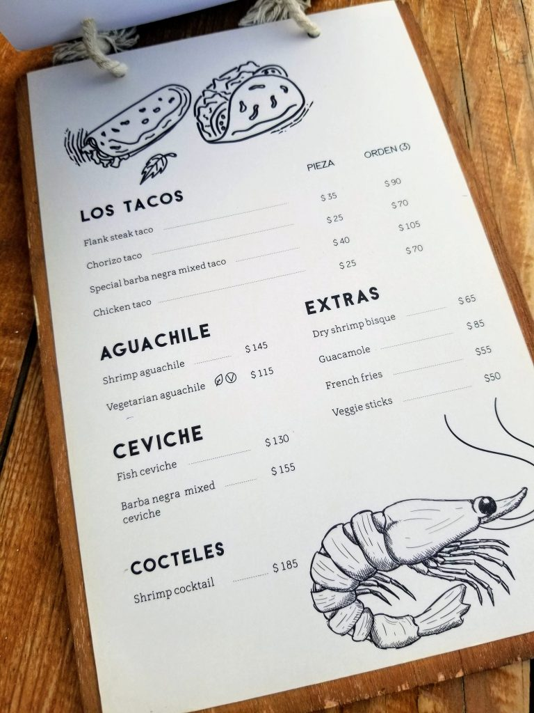The second page of Barba Negra's menu with more tacos, ceviche, and guacamole.